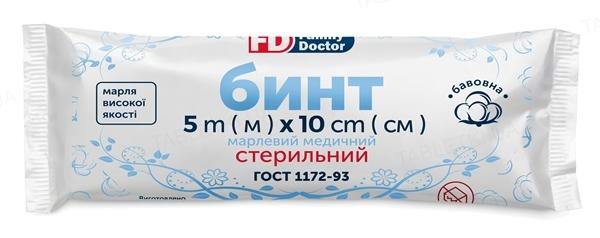 Бинт марлевый медицинский FD Family Doctor стерильный 5 м х 10 см, из марли типа 17