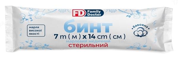 Бинт марлевый медицинский FD Family Doctor стерильный 7 м х 14 см, из марли типа 17