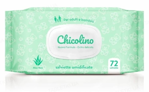 Салфетки влажные Chicolino Aloe Vera, 72 штуки