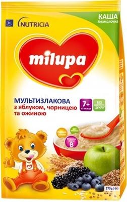 Безмолочная каша Milupa мультизлаковая с яблоком, черникой и ежевикой, 170 г