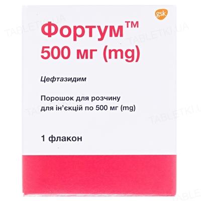 Фортум порошок для р-ра д/ин. по 500 мг №1 во флак.