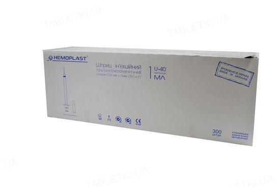 Шприц инсулиновый 1 мл U-40 Гемопласт 3-х компонентный с иглой 29G (0,33 x 13 мм), 300 штук