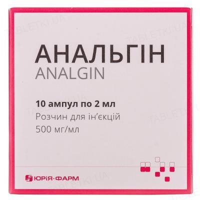 Анальгин раствор д/ин. 500 мг/мл по 2 мл №10 (5х2) в амп.
