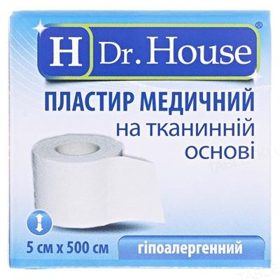 Пластир медичний Dr. House на тканинній основі 5 см х 500 см в картонній упаковці, 1 штука