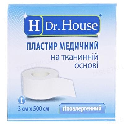 Пластырь медицинский Dr. House на тканевой основе 3 см х 500 см в картонной упаковке, 1 штука