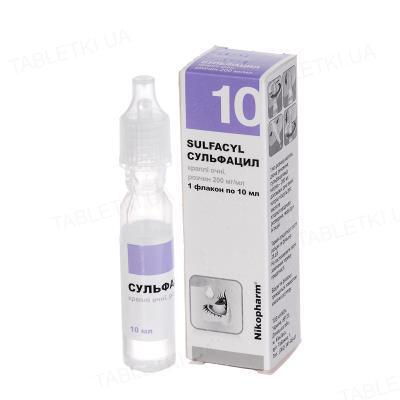 Сульфацил капли глаз., р-р 200 мг/мл по 10 мл во флак.