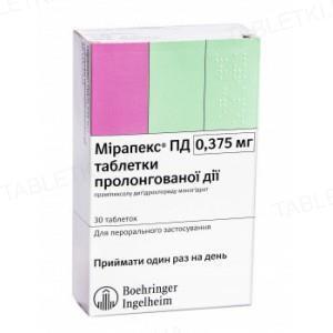 Мирапекс ПД таблетки прол./д. по 0.375 мг №30 (10х3)
