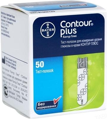 Тест-полоски Bayer Contour plus для глюкометра, 50 штук