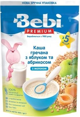 Суха молочна каша Bebi Premium Гречана з курагою і яблуком, 200 г