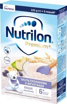 Молочная каша Nutrilon Premium мультизлаковая с фруктами для детей с 6 месяцев, 225 г