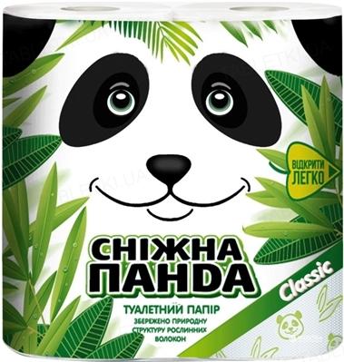 Туалетная бумага Снежная панда Classic белая, в рулонах, 4 штуки