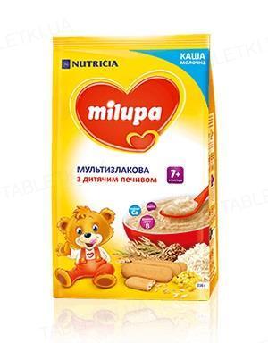 Сухая молочная каша Milupa быстрорастворимая мультизлаковая с печеньем для детей от 7 месяцев, 210 г