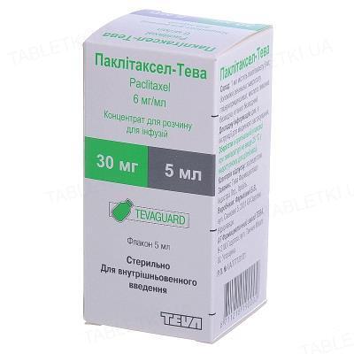 Паклитаксел-Тева концентрат для р-ра д/инф. 6 мг/мл (30 мг) по 5 мл №1 во флак.