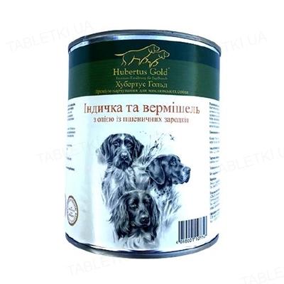 Консерва для собак Hubertus Gold Индейка с лапшой, с маслом из зародышей пшеничных зерен, 800 г