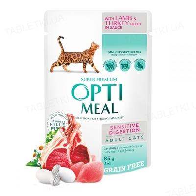 Консерва для кошек Optimeal с ягненком и филе идейки в соусе, 85 г