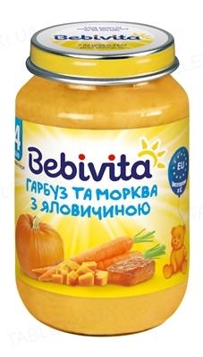 Мясо-овощное пюре Bebivita Тыква и морковь с говядиной, 190 г
