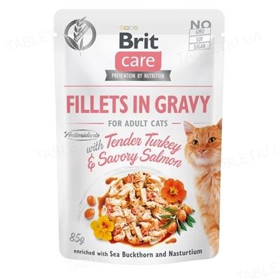 Корм влажный для кошек Brit Care Cat pouch нежная индейка и пикантный лосось, 85 г
