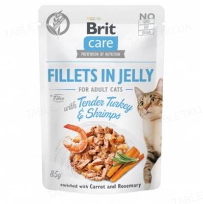 Корм влажный для кошек Brit Care Cat pouch нежная индейка с креветками в желе, 85 г