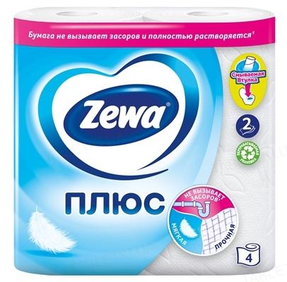 Туалетная бумага Zewa двухслойная, белая, 4 рулона