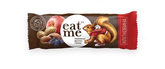 Батончик EatMe изюм-яблоки-орехи в черном шоколаде, 30 г