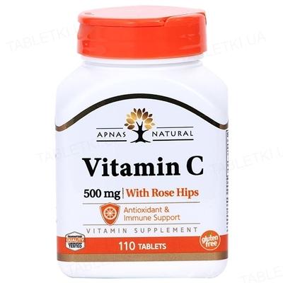 Витамин С Apnas Natural таблетки по 500 мг с шиповником №110