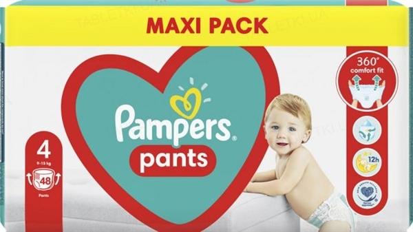 Подгузники-трусики детские Pampers Pants размер 4, 9-15 кг, 48 штук