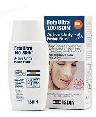 Флюид для лица Isdin Foto Ultra 100 Active Unify Солнцезащитный SPF 50+, 50 мл