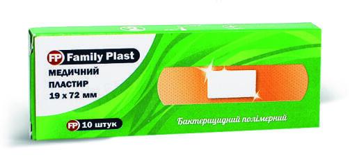Пластир медичний «FP Family Plast» бактерицидний на полімерній основі 19 мм х 72 мм, 10 штук