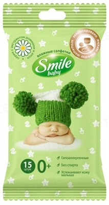 Салфетки влажные Smile Baby с экстрактом ромашки, алоэ и витаминным комплексом, клапан, 15 штук