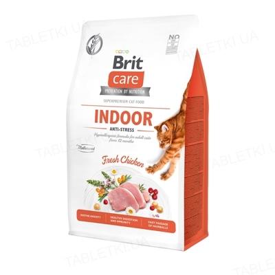 Корм сухой для кошек живущих в помещении Brit Care Cat GF Indoor Anti-stress с курицей, 0.4 кг