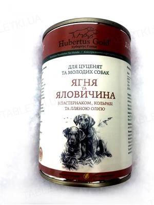 Консервы для щенков Hubertus Gold с ягненком, говядиной, пастернаком, кольраби и льняным маслом, 400 г