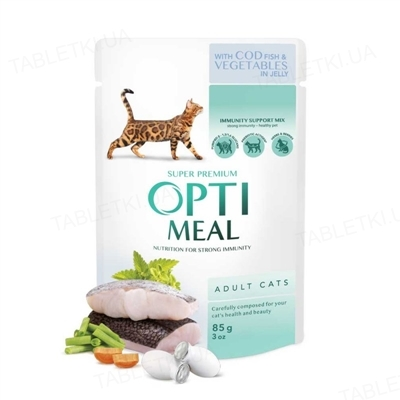 Корм влажный для кошек Optimeal с треской и овощами в желе, 85 г