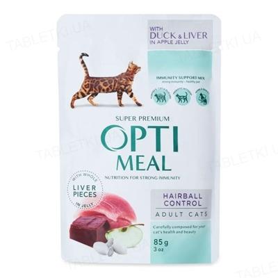 Корм влажный для кошек Optimeal с эффектом выведения шерсти, с уткой в яблочном желе, 85 г