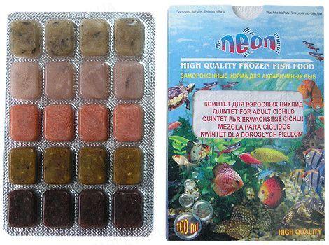 Корм для аквариумных рыб Neon Квинтет для взрослых цихлид замороженный, 100 мл
