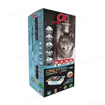 Корм полувлажный для собак Alpha Spirit Semi-moist ONLY FISH с рыбой, 9 кг (x45)
