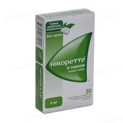Никоретте со вкусом мяты резинка жев. по 4 мг №30 (15х2)
