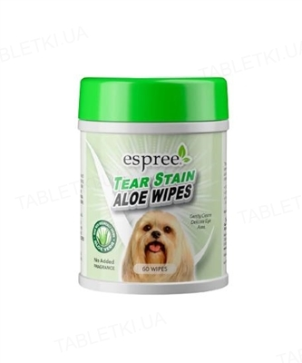 Салфетки для собак Espree Aloe Tear Stain Wipes s для ежедневного ухода за шерстью вокруг глаз, 60 штук