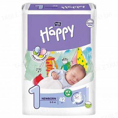 Підгузки дитячі Happy Bella Baby newborn, розмір 1, вага 2-5, 42 штуки