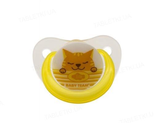 Пустышка латексная Baby Team 3202 ортодонтическая, от 6 месяцев, 1 штука