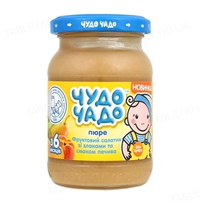 Фруктовое пюре Чудо-Чадо Фруктовый салатик с печеньем и злаками, 170 г