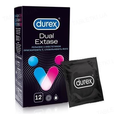 Презервативы латексные Durex Dual Extase рельефные с анестетиком, 12 штук