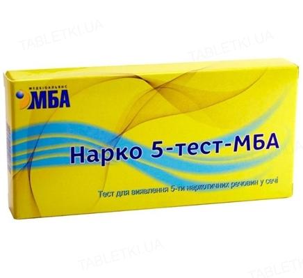 Тест-набор Нарко 5-тест-МБА для выявления 5-ти наркотических веществ (марихуаны, морфина, амфетамина, метамфетамина и кокаина) в моче
