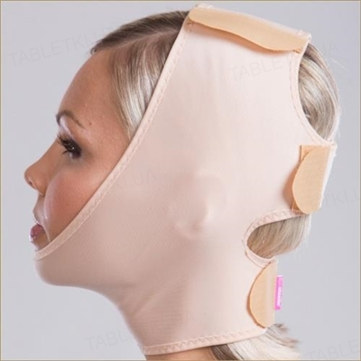 Бандаж маска для лица компрессионная Липоэластик FM special застежка липучка, цвет черный, размер XL