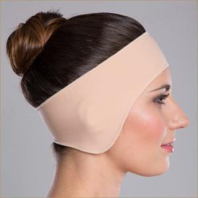 Бандаж маска для лица компрессионная Липоэластик PU velcro fastener, цвет бежевый, размер L