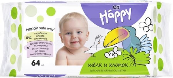 Салфетки влажные для детей Happy Bella Baby Silk & Cotton, 64 штуки
