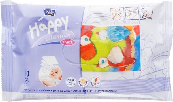 Салфетки влажные Happy Bella Baby, обогащенные витамином Е для ухода за кожей младенцев и детей, 10 штук