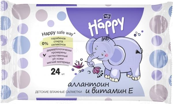 Салфетки влажные Happy Bella Baby, обогащенные витамином Е для ухода за кожей младенцев и детей, 24 штуки