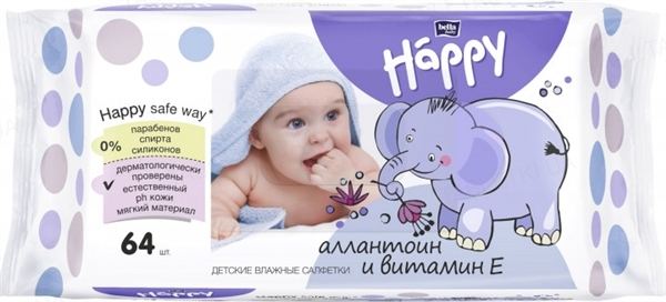 Салфетки влажные Happy Bella Baby, обогащенные витамином Е для ухода за кожей младенцев и детей, 64 штуки