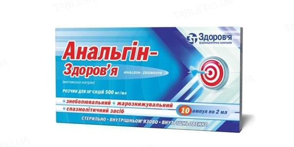 Анальгин-Здоровье раствор д/ин. 500 мг/мл по 2 мл №10 в амп.