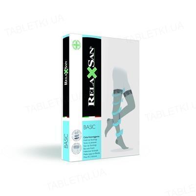 Чулки компрессионные Relaxsan Basic 770 компрессия 12-17 мм рт. ст., 70 den на резинке, цвет черный, размер 2